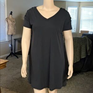 Mudd Black Shoulder Tie Vneck Dress NWT's Size L